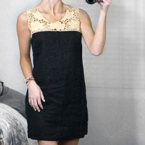 NEWAnn Taylor LOFT Black Crochet Linen Shift Dress